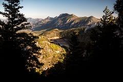 Kyrenia Mountain Range and road to St Hilarion Castle. Kyrenia D royalty free stock image