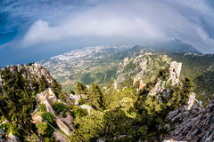 Kyrenia Mountain Range from St Hilarion Castle. Kyrenia Girne. District, Cyprus royalty free stock photo