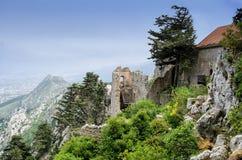 Kyrenia mountains, Cyprus - May 14, 2014: The Saint Hilarion Castle lies on the Kyrenia mountain range, Cyprus royalty free stock images