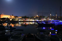 Kyrenia - North Cyprus. A night shot of a medieval port in Kyrenia - North Cyprus. Castle and boats visible stock image