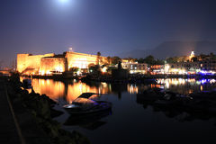 Kyrenia - North Cyprus. A night shot of a medieval port in Kyrenia - North Cyprus. Castle and boats visible royalty free stock photos
