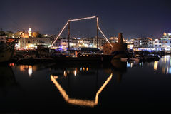Kyrenia - North Cyprus. A night shot of a medieval port in Kyrenia - North Cyprus. Castle and boats visible stock images