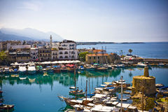 Kyrenia, North Cyprus. Boats and houses and reflections Marina of Kyrenia in Northern Cyprus stock photo