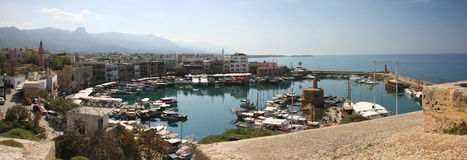 Kyrenia, North Cyprus. Boats and houses and reflections Marina of Kyrenia in Northern Cyprus stock photos