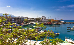 Kyrenia, North Cyprus. Boats and houses and reflections Marina of Kyrenia in Northern Cyprus royalty free stock image