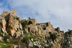 Kyrenia, ruins of St. Hilarion. Ruins of St. Hilarion Castle in Kyrenia, in the northern part of Cyprus stock image