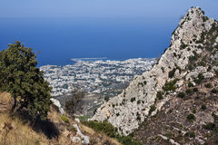 Kyrenia - Turkish Cyprus. Mountain viewpoint high above the city of Kyrenia (Girne) on the northern coast of the Turkish Republic of Cyprus Stock Image