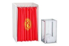 Kyrgyz election concept, ballot box and voting booths with flag Stock Image