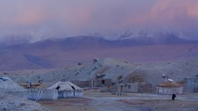 Yurt against snow mountain in Kashgar Stock Photography