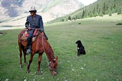 Kyrgyz horseman in Tien Shan mountains Stock Images