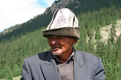 Kyrgyz horseman in Tien Shan mountains Stock Photos