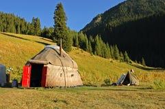 Kyrgyz national nomad's tent - yurt. Landscape with  Kyrgyz national house - yurt Stock Photography