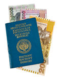 Kyrgyz passport and money Stock Photos