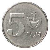 Kyrgyz som coin. Five Kyrgyz som coin on white background Stock Image