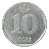 Kyrgyz som coin ten. Ten Kyrgyz som coin on white background Royalty Free Stock Images