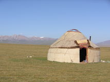 Kyrgyz yurt. Yurts (called gers in Mongolia) are the traditional home of the nomadic Kyrgyz. They are made of multi-layered felt wrapped around a wooden frame royalty free stock images