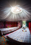 Kyrgyz yurt interior. Ethnic nomadic house yurt interior in Gregory gorge, Kyrgyzstan Royalty Free Stock Photography