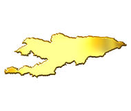 Kyrgyzstan 3d Golden Map. Isolated in white Stock Photos