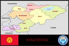Kyrgyzstan Administrative divisions Stock Images