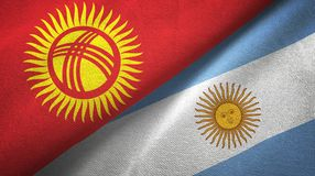 Kyrgyzstan and Argentina two flags textile cloth, fabric texture. Kyrgyzstan and Argentina flags together textile cloth, fabric texture vector illustration