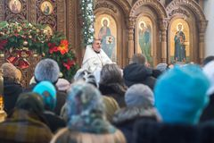 Christmas eve, Service in the Orthodox Church royalty free stock images