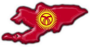 Kyrgyzstan button flag map shape Stock Photos