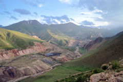 Kyrgyzstan Coal Mine Kara-Keche, Naryn Province. Top view of pit, lakes ad the river crossing the explotation Stock Photo