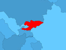 Kyrgyzstan on 3D map Stock Images