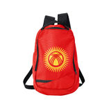 Kyrgyzstan flag backpack isolated on white Royalty Free Stock Images