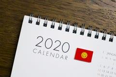 Kyrgyzstan Flag on 2020 Calendar stock photos