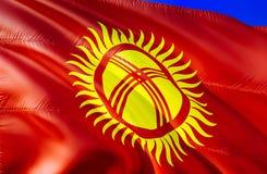 Kyrgyzstan flag. 3D Waving flag design. The national symbol of Kyrgyzstan, 3D rendering. National colors and National CIS flag of. Kyrgyzstan for a background stock photo