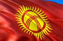Kyrgyzstan flag. 3D Waving flag design. The national symbol of Kyrgyzstan, 3D rendering. The national symbol of Kyrgyzstan. Background wallpaper. CIS flag 3D royalty free stock photography