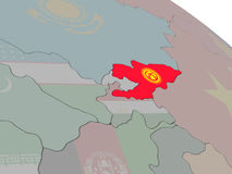 Kyrgyzstan with flag Stock Photography
