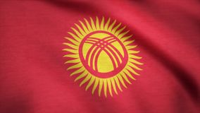 Kyrgyzstan flag waving animation. Seamless Loopable Flag of Kyrgyzstan. Full Screen. Symbol of the country.  Stock Photos