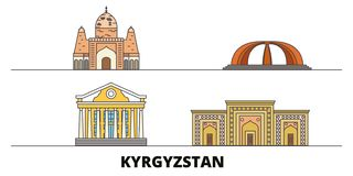 Kyrgyzstan flat landmarks vector illustration. Kyrgyzstan line city with famous travel sights, skyline, design. Kyrgyzstan flat landmarks vector illustration vector illustration