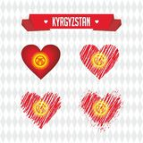Kyrgyzstan heart with flag inside. Grunge vector graphic symbols stock illustration