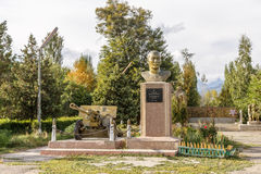 Kyrgyzstan, Issyk Kul - August 18, 2016: Monument to the hero of Stock Photo