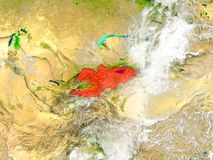 Kyrgyzstan on map with clouds Royalty Free Stock Photography