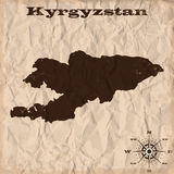 Kyrgyzstan old map with grunge and crumpled paper. Vector illustration vector illustration