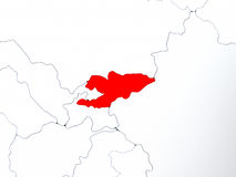 Kyrgyzstan in red on map Stock Images