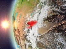 Kyrgyzstan tijdens zonsondergang van ruimte Royalty-vrije Stock Foto's