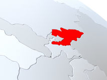 Kyrgyzstan on world map Royalty Free Stock Photos