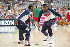 Kyrie Irving and Rudy Gay. Of USA Team at FIBA World Cup basketball match between USA and Mexico, final score 86-63, on September 6, 2014, in Barcelona, Spain Royalty Free Stock Photography