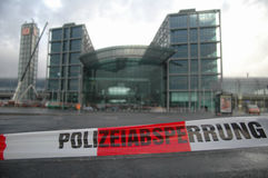 Kyrill. JANUARY 19, 2007 - BERLIN: damage at the new Berlin main train station: the storm Kyrill had loosened a steel pole from the building which fell 40 meters Stock Image