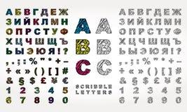 Kyrillisches Alphabet mit Gekritzeleffekt Stockbilder