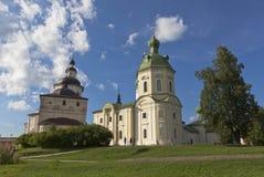 Kyrkaärkeängel Gabriel och Kirill Belozersky av den Kirillo-Belozersky kloster, Vologda region, Ryssland royaltyfria foton