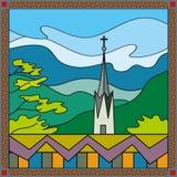 Kyrka överst av bergen på skymning stock illustrationer