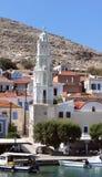 Kyrka av Agios Nikolaos i den Chalki ön Royaltyfria Bilder