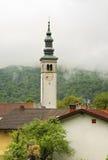 Kyrka av antagandet i Kobarid slovenia Fotografering för Bildbyråer