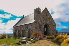 Kyrka av den bra herden, sjö Tekapo, södra ö, Nya Zeeland royaltyfri foto